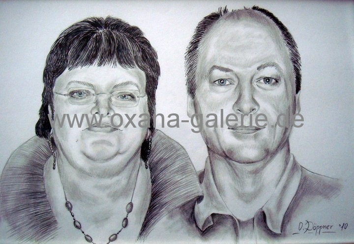 Oxana-Galerie.de Paar Portrait Bleistiftzeichnung